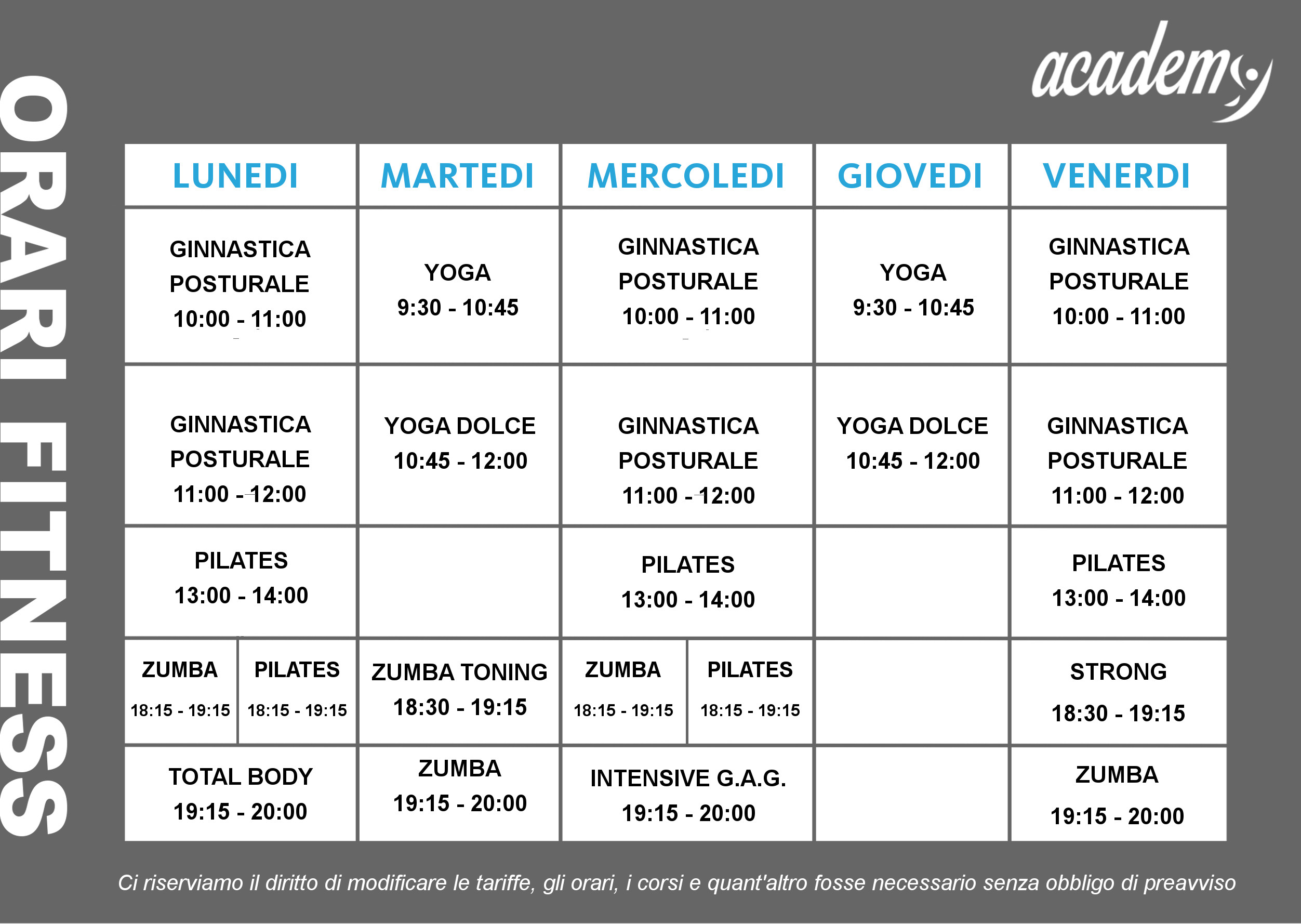 corsi fitness Pianoro Sport Academy